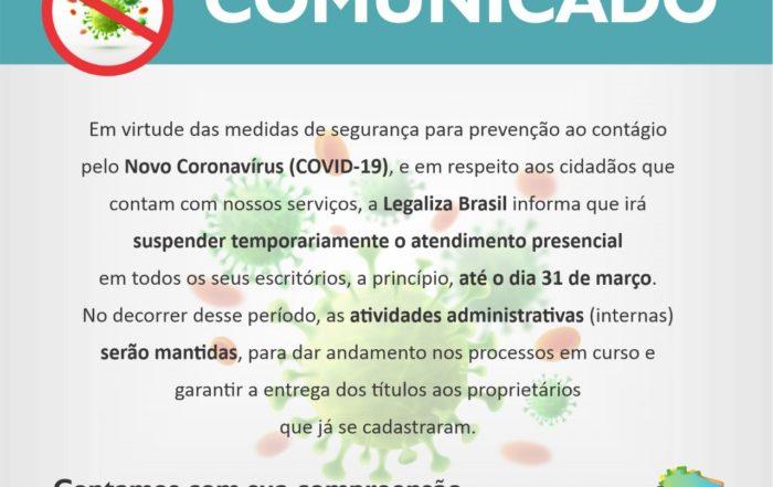comunicado Novo Coronavírus COVID-19