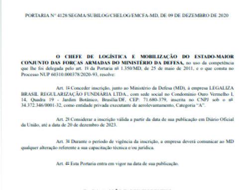 Portaria concede à Legaliza Brasil a inscrição como entidade privada executante de aerolevantamento